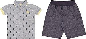 Conjunto Infantil Bermuda em Moletinho + Camiseta Gola Polo Cinza 5123