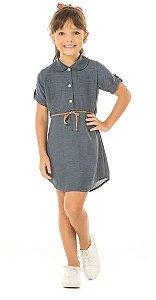 Vestido Gola Polo com Cinto Azul Marinho Serelepe 4612