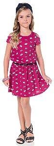 Vestido Infantil Pink com Cinto Kyly  108671