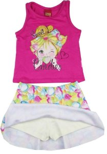 Conjunto Infantil Regata Pink + Short Saia Kyly 108055