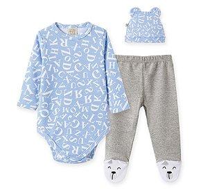 Conjunto Bebê Body Longo + Calça com Pé + Touca Azul Pingo Lelê 66719