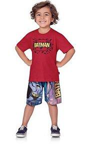 Conjunto Camiseta + Short Tactel Batman Fakini 2465 Vermelho