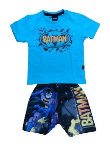 Conjunto Camiseta + Short Tactel Batman Fakini 2465 Azul