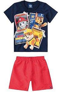 Conjunto Infantil Camiseta Patrula Canina + Bermuda Tactel Malwee 28700