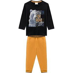 Conjunto Infantil Camiseta Manga Longa + Calça Moletinho Urso Milon 13006