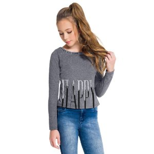 Blusa Cropped Teen Meia Malha Amora 51455