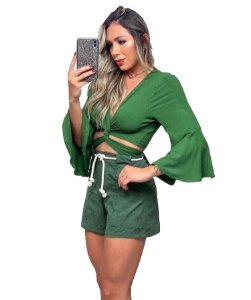 Cropped Flare Verde