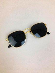 Óculos New York Hexagonal (Preto com Dourado)