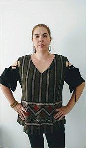 Blusa Plus Size Estampa Étnica