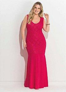 bd4dacc78 Vestido Festa Longo Plus Size Paete Rosa - Moda Plus Size