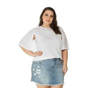 DUPLICADO - Blusa Plus Size  Poliviscose Flame Branca