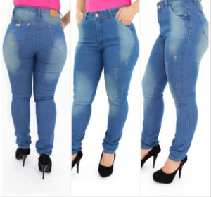 Calça Jeans Plus Size Skinny Puídos com Exclusivo Bolso Antifurto
