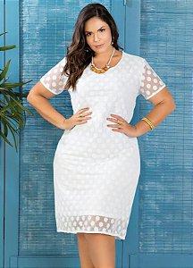bc17bd3356 Vestido Plus Size Branco Tule