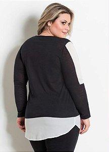 31c1fe34fc Blusa Plus Size Recortes Preta e Branca zoom