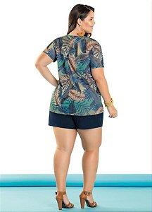 2fe5ac4089 Lançamentos. Conjunto Plus Size Shorts e Blusa Marinho Com Estampado zoom