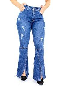 Calça Jeans Plus Size Flare Max Aberta Bolso Antifurto