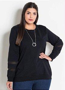 Casaco Plus Size Moletinho Preto com Transparência