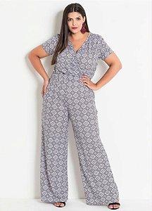 Macacão Pantalona Plus Size Estampa Geométrica