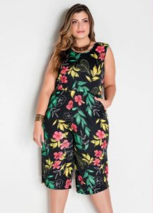 Macacão Pantacourt Plus Size Estampado
