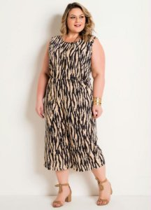 Macacão Pantacourt Plus Size Animal Print