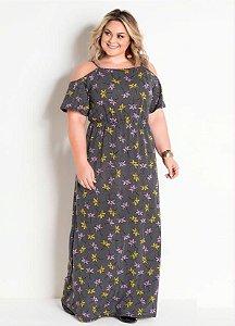 Vestido Longo Plus Size Meia Malha Manga Vazada Floral