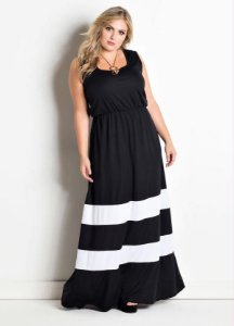 Vestido Longo Plus Size Poliéster Preto Com Listras Brancas