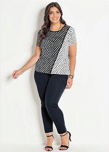 Conjunto Plus Size Blusa Estampa Poá e Calça Preta