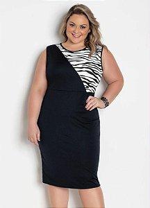 Vestido Plus Size Recortes Preto e Animal Print