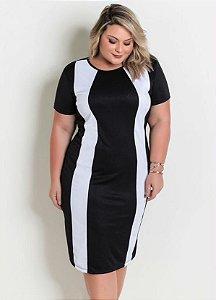 Vestido Midi Plus Size Manga Curta Preto e Branco