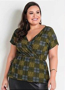 Blusa Feminina Plus Size Transpassada Estilo Peplum
