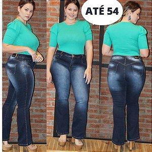 Calça Jeans Flare Plus Size Cintura Alta Lavagem Última Moda