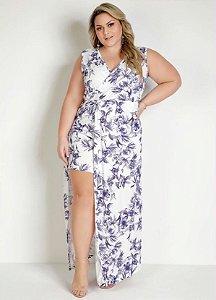 Vestido Longo Plus Size com Saia e Sobreposição em Fenda