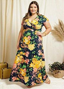 Vestido Longo Plus Size Transpassado Estampa Floral