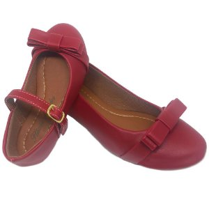 Sapatilha Vermelha Bico Redondo com Laço