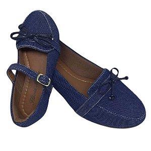 Mocassim Jeans Azul  com Lacinho Costurado