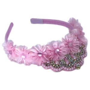 Tiara na cor rosa pink flor com strass prata