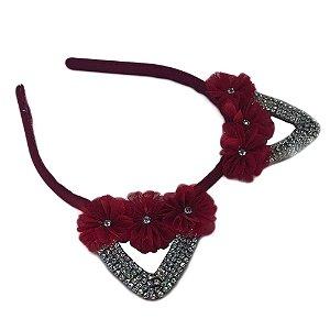 Tiara Gatinha com Strass Prata Flor Vermelha