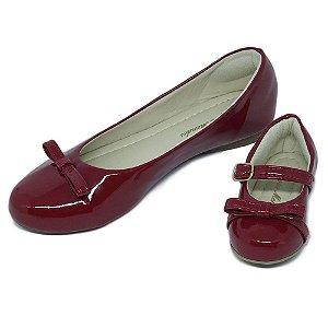 Sapatilha Vermelha Verniz Comfort com Laço