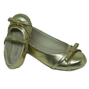 223e86080 Sapatilha Dourada Comfort Bico Redondo