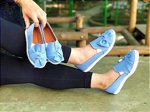 Tenis Iate Jeans Claro com Laço de Enfeite