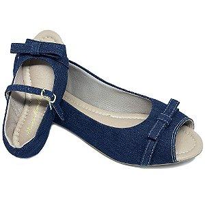 Sapatilha Peep Toe Jeans Escuro c/ Lacinho