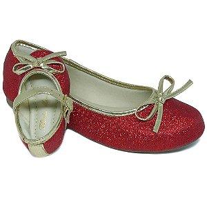 Sapatilha Glitter Vermelha Lacinho Comfort