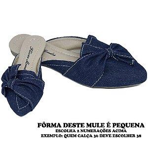Mule Jeans Azul Escuro Bico Fino com Laço