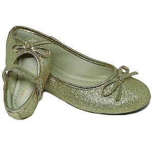 Sapatilha Glitter Dourada Lacinho Comfort