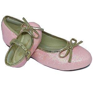 Sapatilha Glitter Rosa Bebê Lacinho Comfort