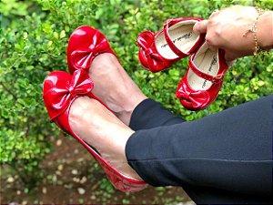 Sapatilha Vermelha Laço de Lado Comfort