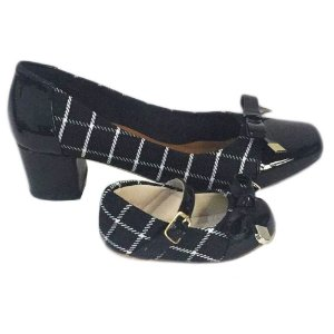 Sapato Verniz Xadrez Mãe e Filha