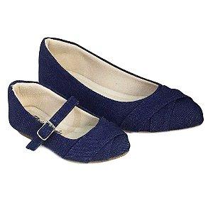 Sapatilha Jeans Azul Bico Fino Comfort