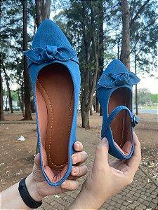Sapatilha Jeans Azul Claro Bico Fino com Laço