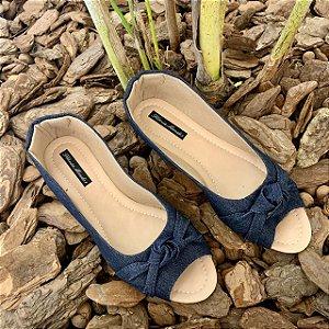 Peep Toe Adulto Jeans Azul com Laço Nó Bico Redondo